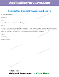 thanksgiving letter to employees letter to cancel the approved leave of employee due to work in office