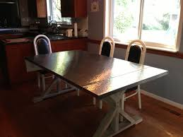 wood and stainless steel dining table with design picture 8051