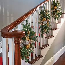 improvements indoor outdoor lighted christmas garland improvements gold and silver lighted staircase christmas swag 30