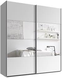 Schlafzimmerschrank Schiebet En Schwebetürenschrank Kleiderschrank Ca 200 Cm Weiss Mit Spiegel