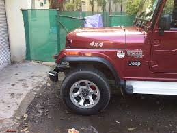 landi jeep with bullet my li u0027l red mahindra thar with some practical modifications team bhp