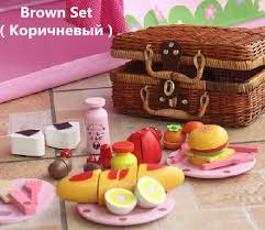 kids picnic basket baby toys garden strawberry picnic basket set wooden toys