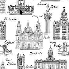 london landmark seamless pattern doodle travel europe sketchy