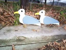 2 seagull yard decorations wood lawn ornaments nautical garden