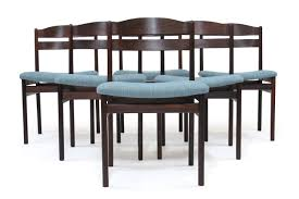 six solid rosewood danish dining chairs with blue seats u2014 antiques