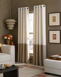 Long Drapery Panels Kendall Color Block Grommet Curtain Panel In Ivory Camel 95