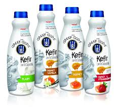 the greek gods kefir low fat cultured milk on packaging of the
