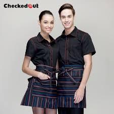 female short sleeved summer uniforms hotel waiter uniforms hotel