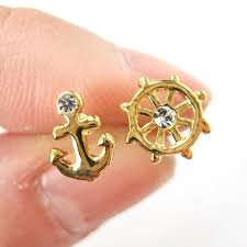 anchor earrings small anchor and wheel nautical stud earrings in gold dotoly
