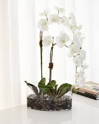 Faux Floral Centerpieces by Ndi Orchids In Glass Faux Floral Arrangement