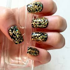 gold holo glitter fake nails press on gel nails luxe glitter