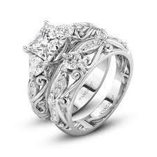 stone wedding rings images Vancaro three stone vintage style trillion stone wedding ring set jpg