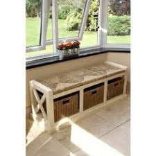 Wicker Storage Bench Tetbury Hallway Bench White Hallway Storage Bench With Cushion