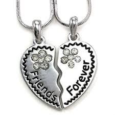 best friend heart necklace images Best friends forever bff heart necklace two pendant charm clear jpg