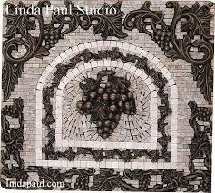 grapes mosaic tile medallion kitchen backsplash mural mosaics
