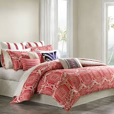 bedroom fascinating comforter coral bedding on dark brown wood