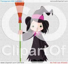 cute halloween png clipart of a cute halloween witch standing with a broom