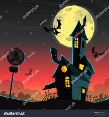 vintage moon pumpkin halloween background scary house on night background full stock vector 324419411