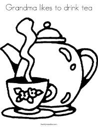 grandma likes to drink tea coloring page twisty noodle