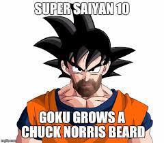 Chuck Norris Beard Meme - goku super saiyan 10000 chuck norris beard memes imgflip