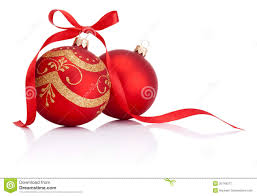christmas ribbons and bows two christmas decoration balls with ribbon bow stock image