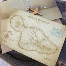 Maui Hawaii Map Map Postcard Save The Date Maui Hawaii
