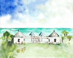 beach art florida beach landscape watercolor painting giclee art