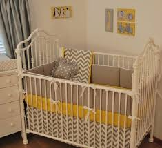 Grey And Yellow Crib Bedding Yellow And Grey Chevron Baby Bedding Designs All Modern Home