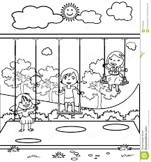 three little children coloring page stock illustration image