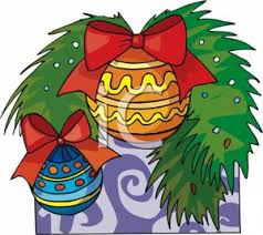 of christmas ornaments hanging on a tree royalty free clipart