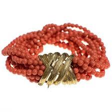 beading bracelet clasp images Vintage ciner coral multi strand coral bracelet with gold clasp jpg