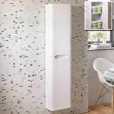 Bathroom Wall Storage Cabinets White Gloss Tall Bathroom Cabinet With Cabinets Wall Mounted And