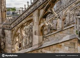 flying buttress arches on marble flying buttress at cathedral milan italy