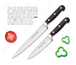 kitchen carving knives two chef s kitchen carving knives eps10 royalty free cliparts