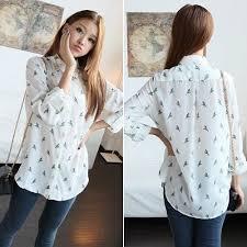 blouse wanita kasual wanita lengan panjang chiffon bayan cetak kaos atasan blouse