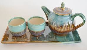 Handmade Tea Cups - handmade ceramic tea set with tray brown green tea pot with