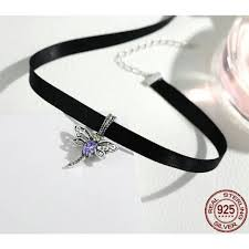 cute choker necklace images Sterling silver cute dragonfly pendant choker necklace queen ala jpg