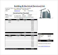 construction receipt template 15 free sample example format