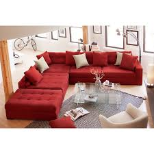 Ottoman Red by Venti 5 Piece Sectional With Cocktail Ottoman Red American