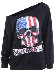 Plus Size Halloween Shirts by Plus Size Patriotic American Flag Halloween Skull Print Sweatshirt