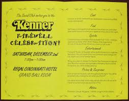 kenner farewell party invitation kennercollector com