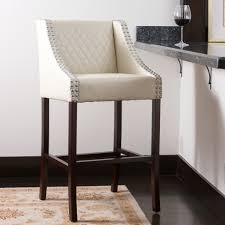 Leather Bar Stools With Back Farah Ivory Quilted Bonded Leather Bar Stool Walmart Com