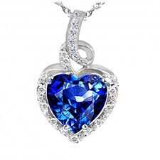 blue sapphire silver necklace images Pws038cbs sterling silver 8mm heart cut created blue sapphire jpg