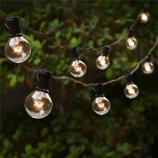 Outdoor Hanging String Lights String Lights With 25 G40 Globe Bulbs Ul Listed For Indoor Outdoor