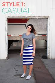 casual pencil skirt how she styled it stretchy striped pencil skirt