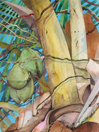 coconut tree is an original watercolor painted by karin novak neal