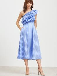 oblique shoulder vertical striped layered frill dress shein