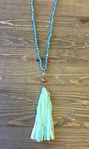 bead necklace with tassel images Turquoise mint beading w mint fabric tassel necklace paisley jpg