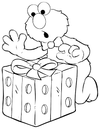 Elmo Opens Birthday Present Coloring U0026 Coloring Pages
