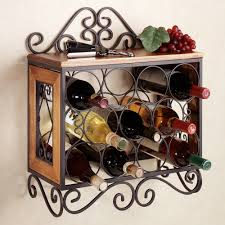 brown wooden wine racks with black metal frame and round black